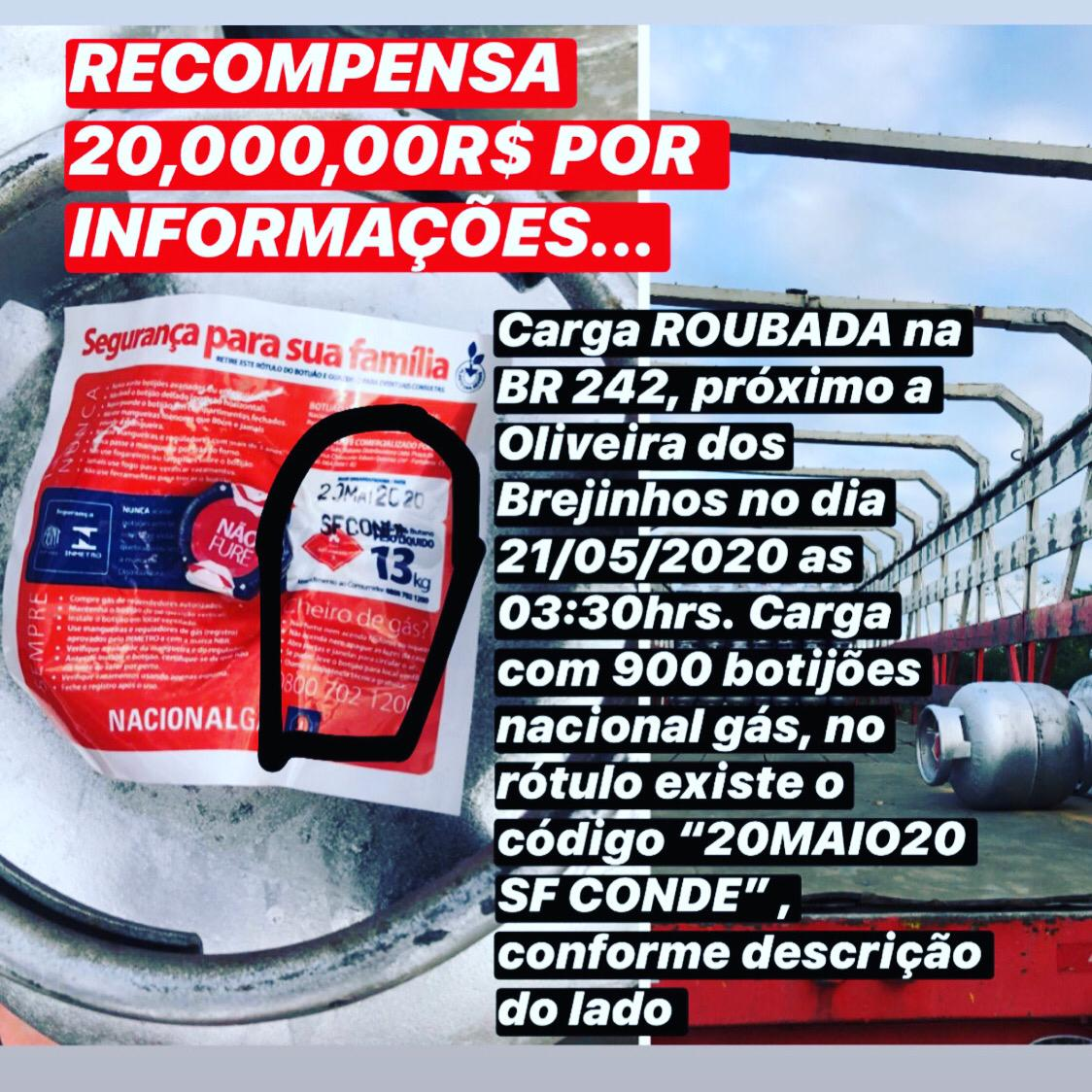 Proprietário tenta recuperar carga roubada de 900 botijões de gás na BR/242 próximo a Oliveira dos Brejinhos/BA; recompensa R$ 20 mil