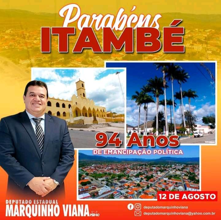 Deputado Marquinho Viana parabeniza Itambé pelos 94 anos de emancipação política