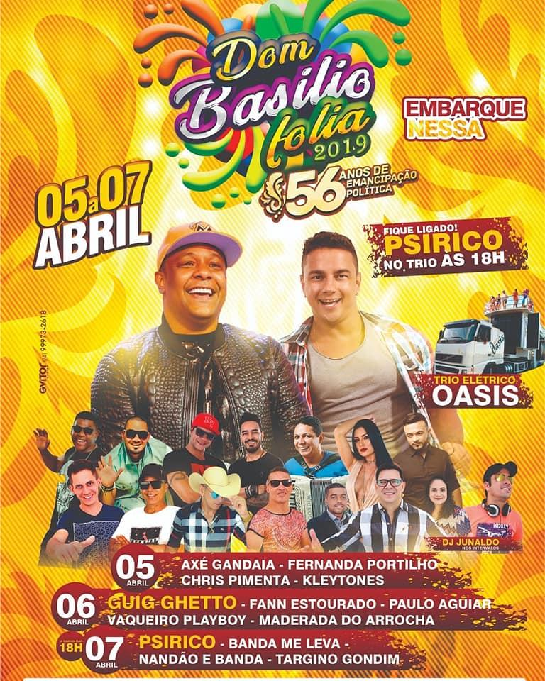 Festa de emancipação política de Dom Basílio será realizada neste fim de semana