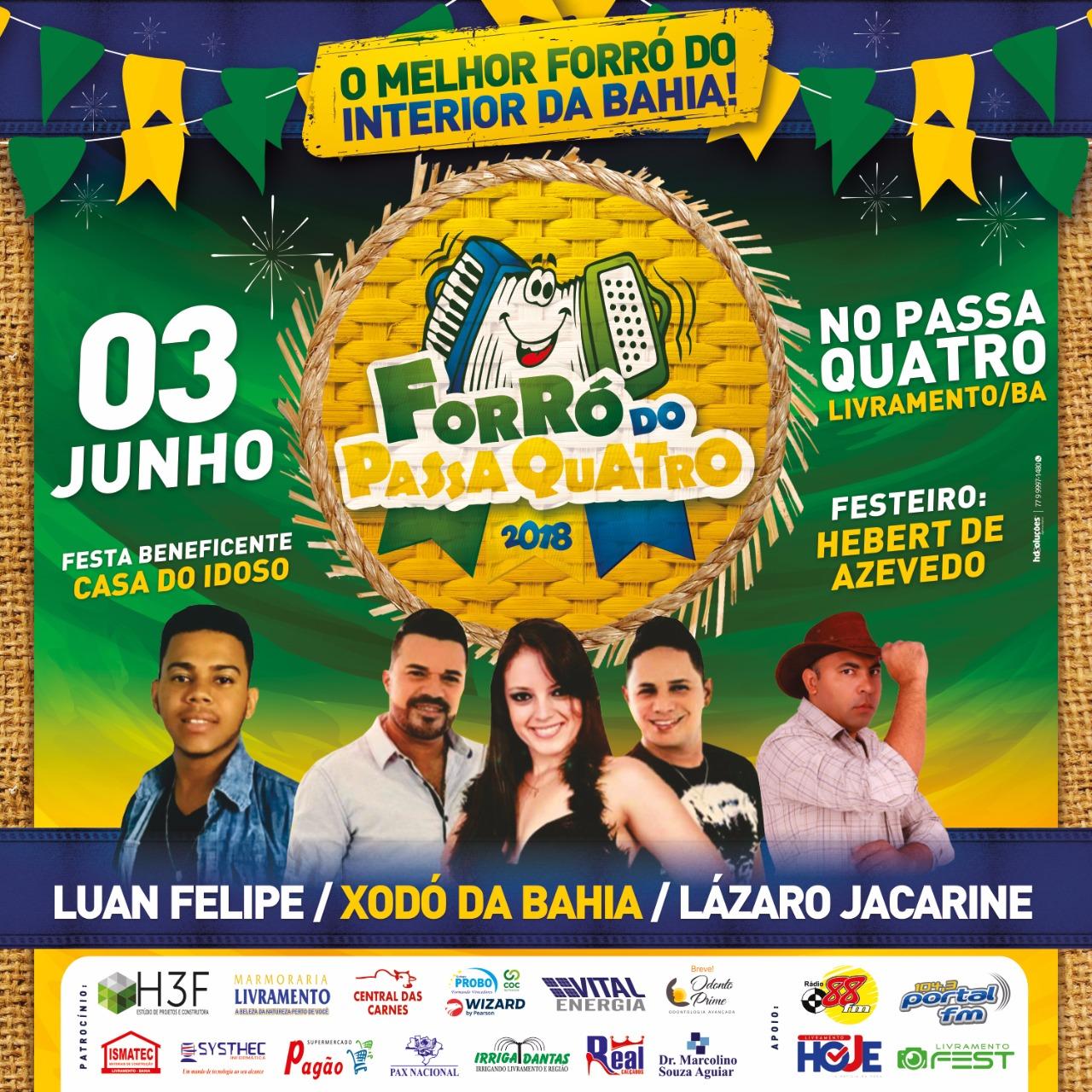Livramento: Luan Felipe, Xodó da Bahia e Lázaro Jacarine irão animar o quarto Domingo de Sol do Passa Quatro
