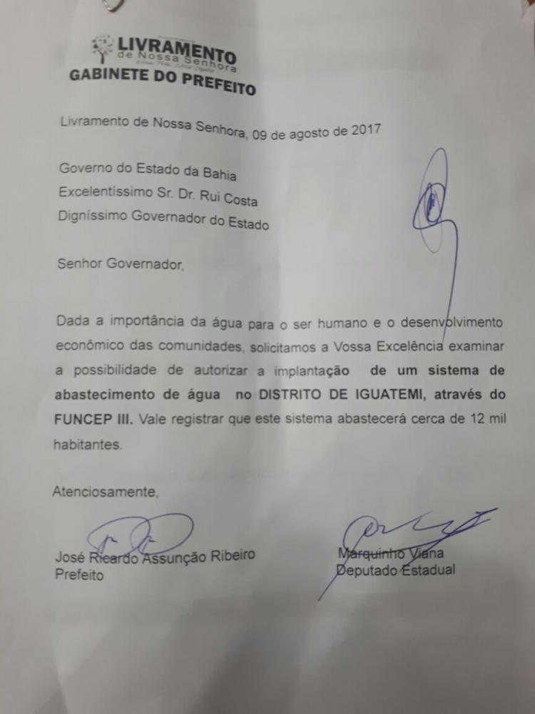 Prefeito Ricardinho Ribeiro e deputado Marquinho Viana solicita ao Governador implantação de adutora no Distrito de Iguatemí