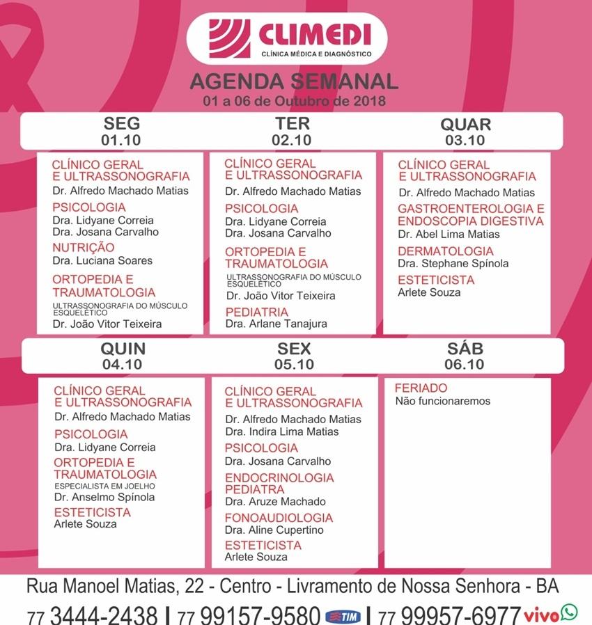 Confira agenda semanal da Climedi de Livramento