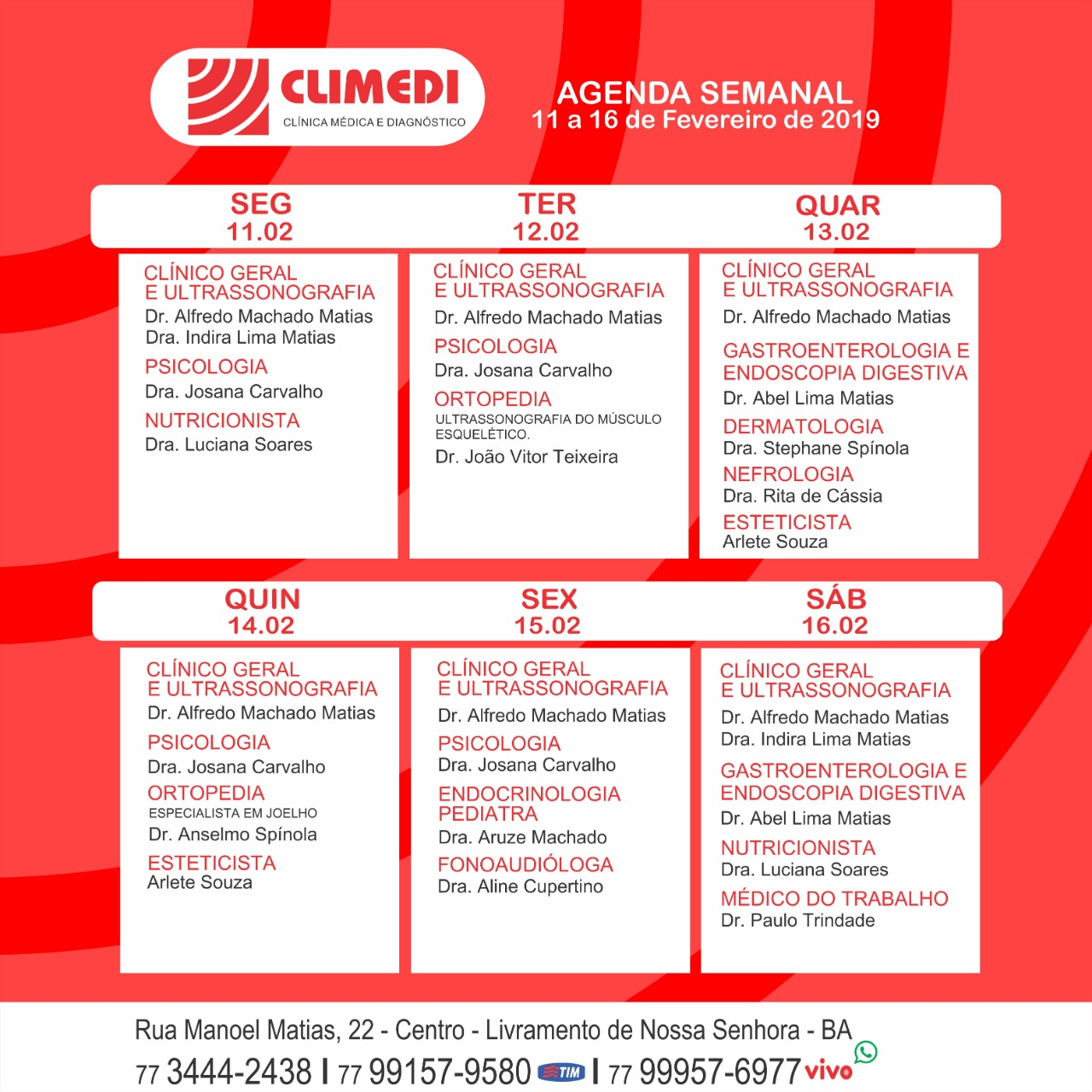 Livramento: Confira agenda semanal da CLIMEDI