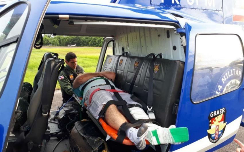 Homem fratura fêmur após saltar de paraquedas na região da Ilha de Itaparica
