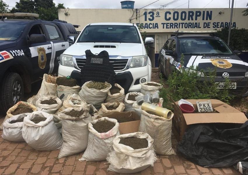 Homem é preso com mais de 160 kg de maconha em Seabra