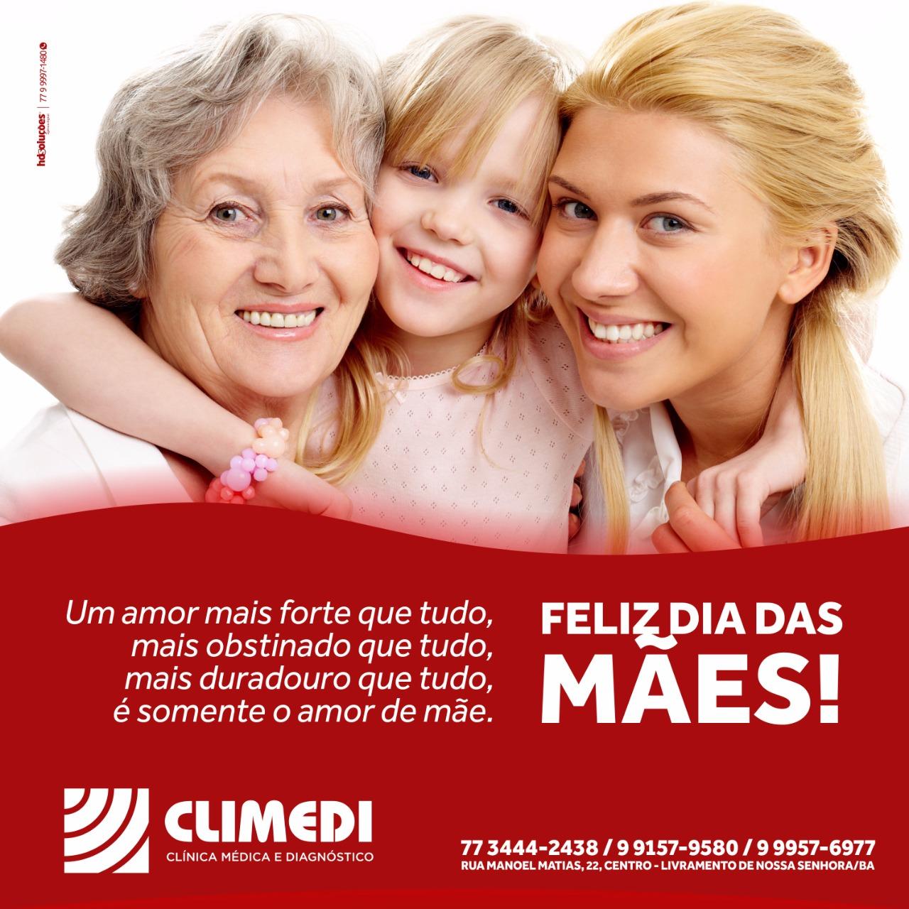 Feliz dia das Mães é o que deseja a Clínica Climedi a todas as Mães