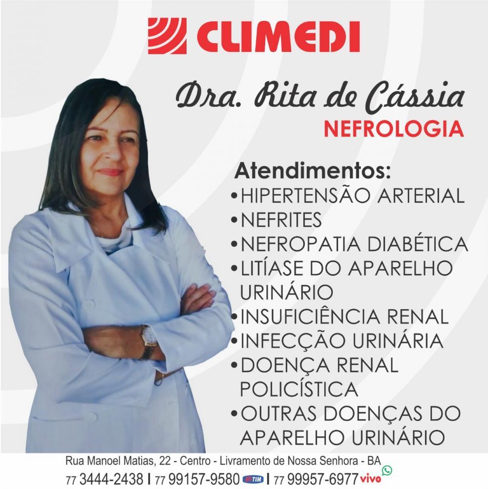 Climedi: Drª Rita de Cássia Nefrologista atenderá nesta quarta-feira  (20)
