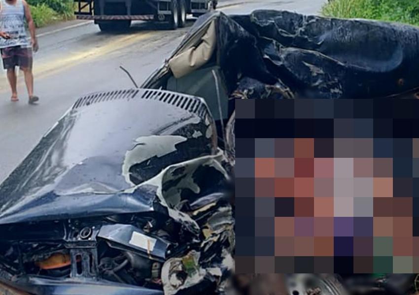 Quatro pessoas da mesma família morrem após carro em que estavam bater com caminhão na BA