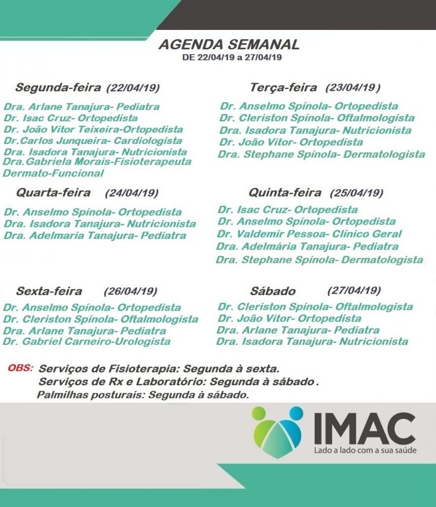 Confira agenda semanal da IMAC