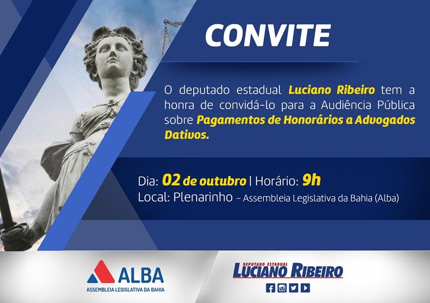 Deputado Luciano Ribeiro: Honorários a Advogados Dativos em debate