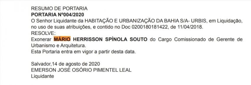 Mário Spínola se desincompatibiliza de cargo em comissão para ser o possível substituto de Carlão nas eleições 2020