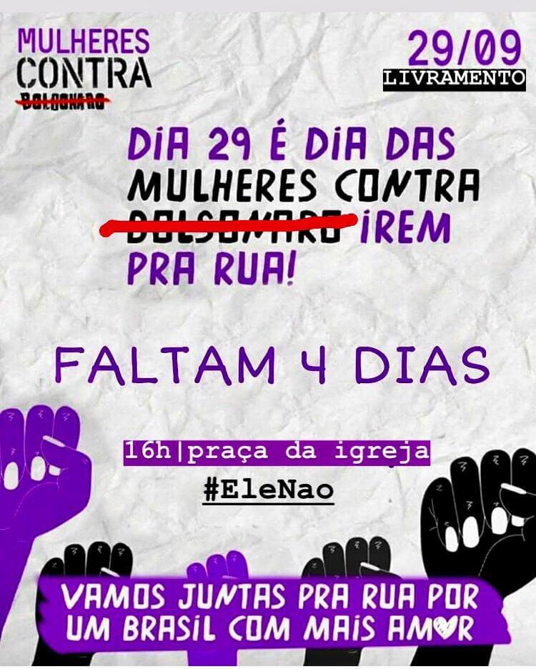 Grupo de livramentenses organizam ato anti-Bolsonaro; caminhada acontecerá no sábado dia 29