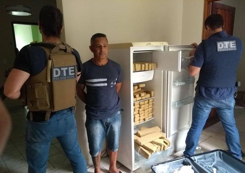Conquista: Suspeito de tráfico de drogas é preso com 100 kg de maconha dentro de geladeira