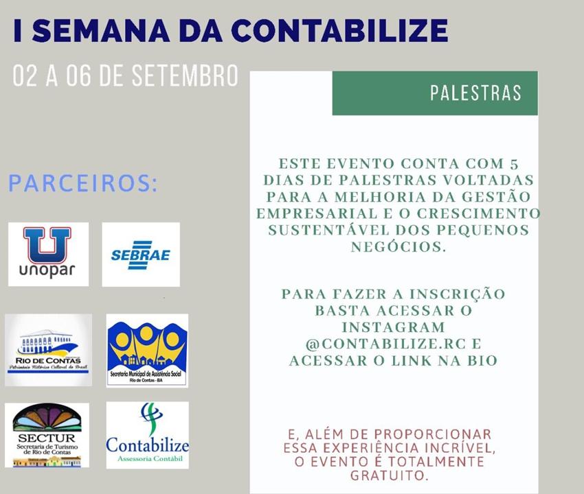 Rio de Contas: I Semana da Contabilidade acontecerá de 02 a 06 de setembro; participe