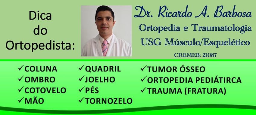 Confira agenda da semana de Dr. Ricardo Barbosa Ortopedista especializado em dor