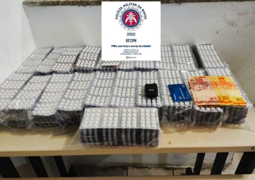 Homem é preso com 15 mil comprimidos de anfetamina em carro