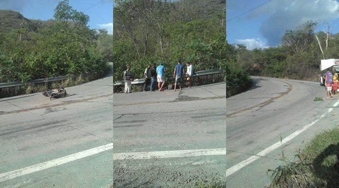 Homem fica ferido após acidente entre caminhão e moto na Serra das Almas