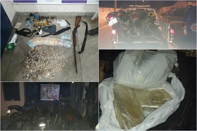 Jussiape: Polícia Militar apreende armas, munições, motocicletas, automóvel, dinheiro e drogas; quatro homens foram presos