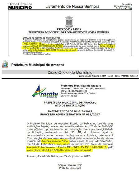 Prefeitura de Livramento contratou Banda Calcinha Preta por 70 mil reais a mais que Aracatu