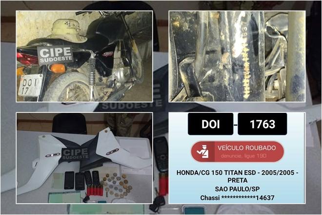 Condeúba: Caesg prende elemento com motocicleta roubada, drogas e peças de motos roubadas
