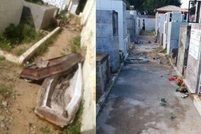 Caixão é violado e cadáver é levado de cemitério na Bahia