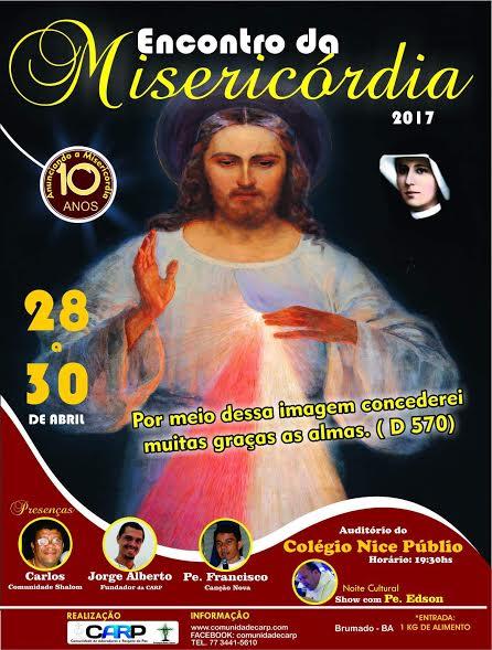 Encontro da Divina Misericórdia acontecerá em Brumado de 28 a 30 de Abrirl