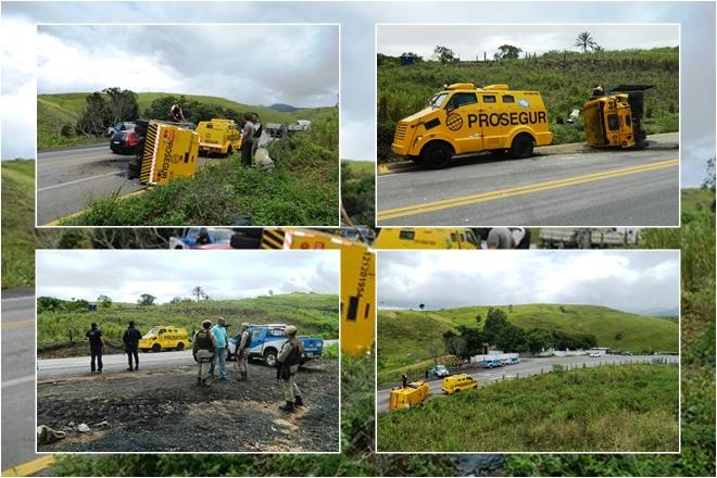 Carro-forte carregado de dinheiro tomba na BR-101, no sul da Bahia