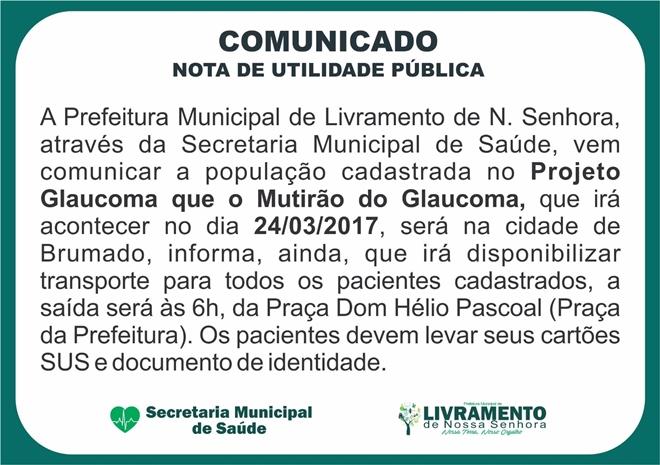 Comunicado da Prefeitura Municipal de Livramento