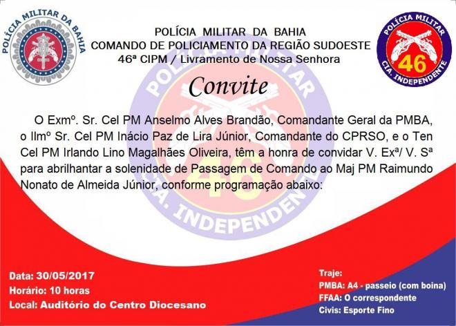 Solenidade de troca de Comando da 46ª CIPM acontece nesta terça-feira