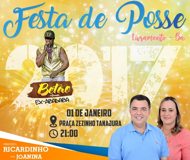 Festa de posse de Ricardinho e Joanina terá como Atração Betão ex Abadaba