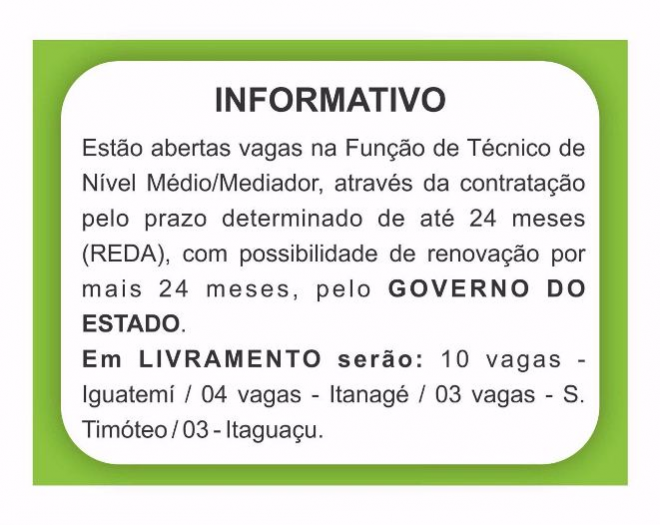 Livramento: Abertas vagas (REDA) para a Fundação de Técnico de nível médio /mediador