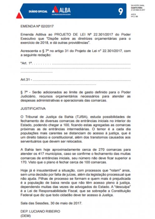 Luciano Ribeiro: Mais recurso ao judiciário da Bahia