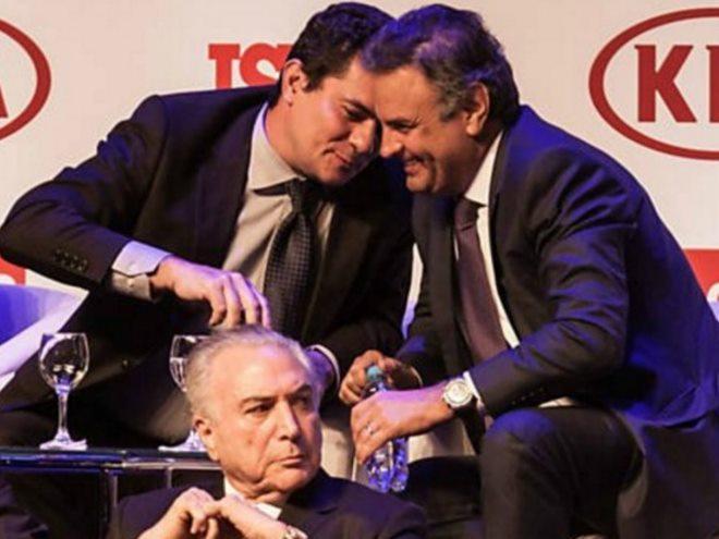 Lula inclui fotos de Moro com Aécio em processo para afastar juiz da Lava Jato