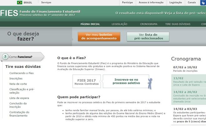 Educação: Resultado do Fies já está disponível para consulta de estudantes na internet