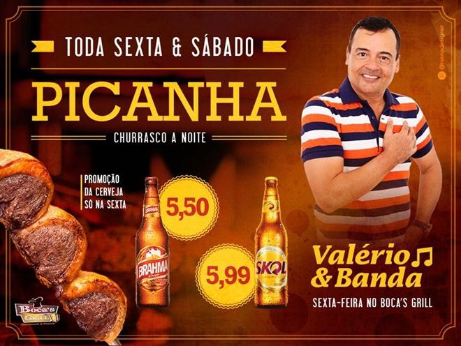 Nesta sexta feira tem Valério e Banda no Boca's Grill