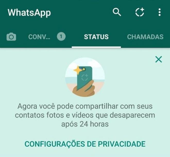 Status do whats app com fotos que desaparecem chega para todos no Brasil